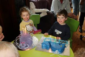 Birthday number three: purple spider and blue whale. Oh yeah, Blake's was half eaten because Phoebe was still asleep and people were hungry.